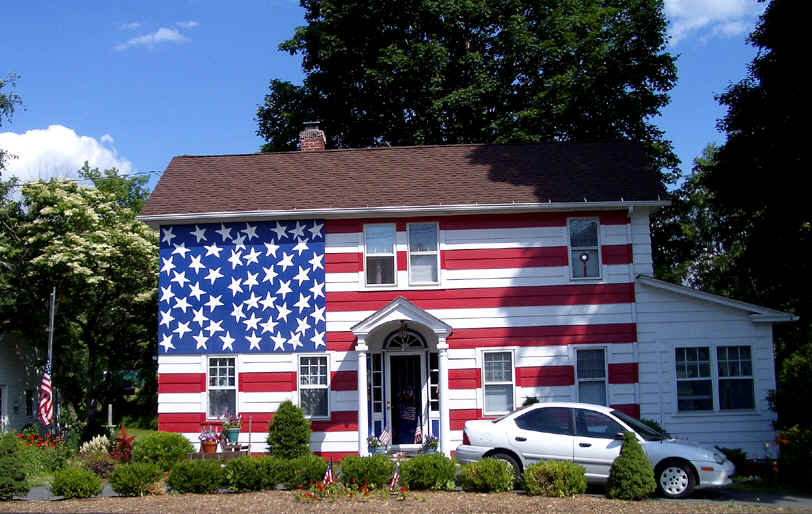 A House Painted Like The American Flag Photo