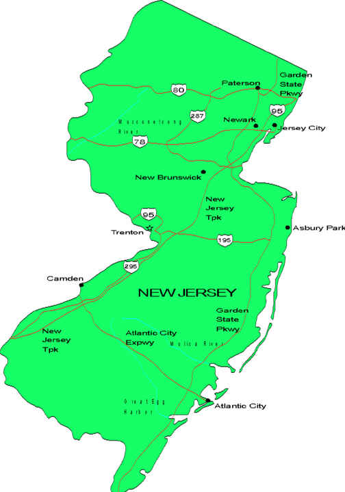 Asbury Park New Jersey Map.Map Of New Jersey