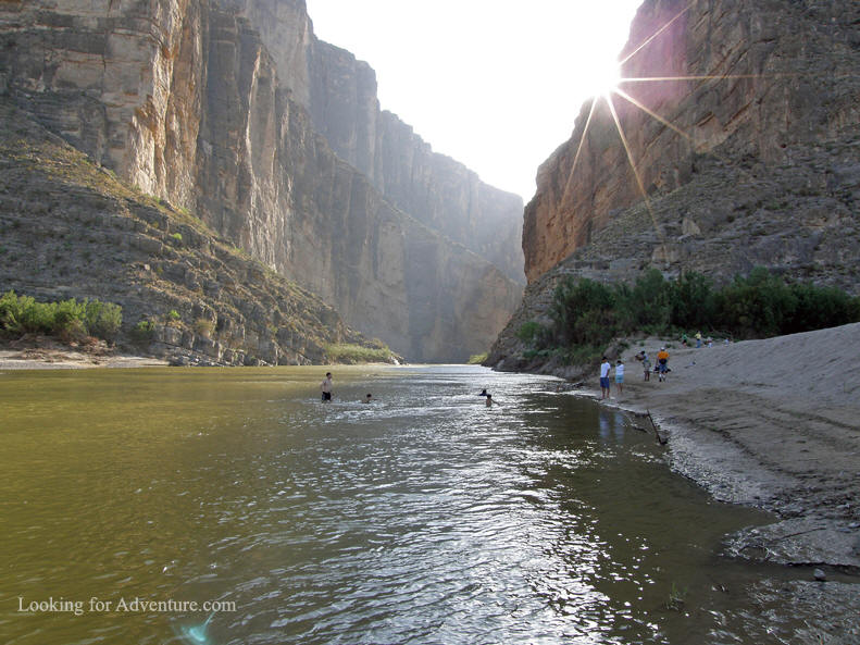 People swimming in the Rio Grande at Santa Elena Canyon in Big Bend
