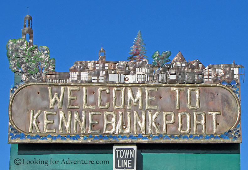 Kennebunkport Metal Town Line Sign In Maine